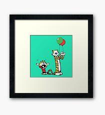 Calvin And Hobbes Ballon Framed Print