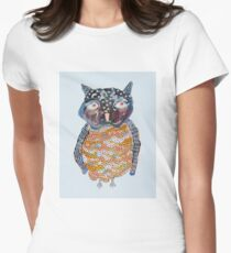 Watercolour Baby Owl Women's Fitted T-Shirt