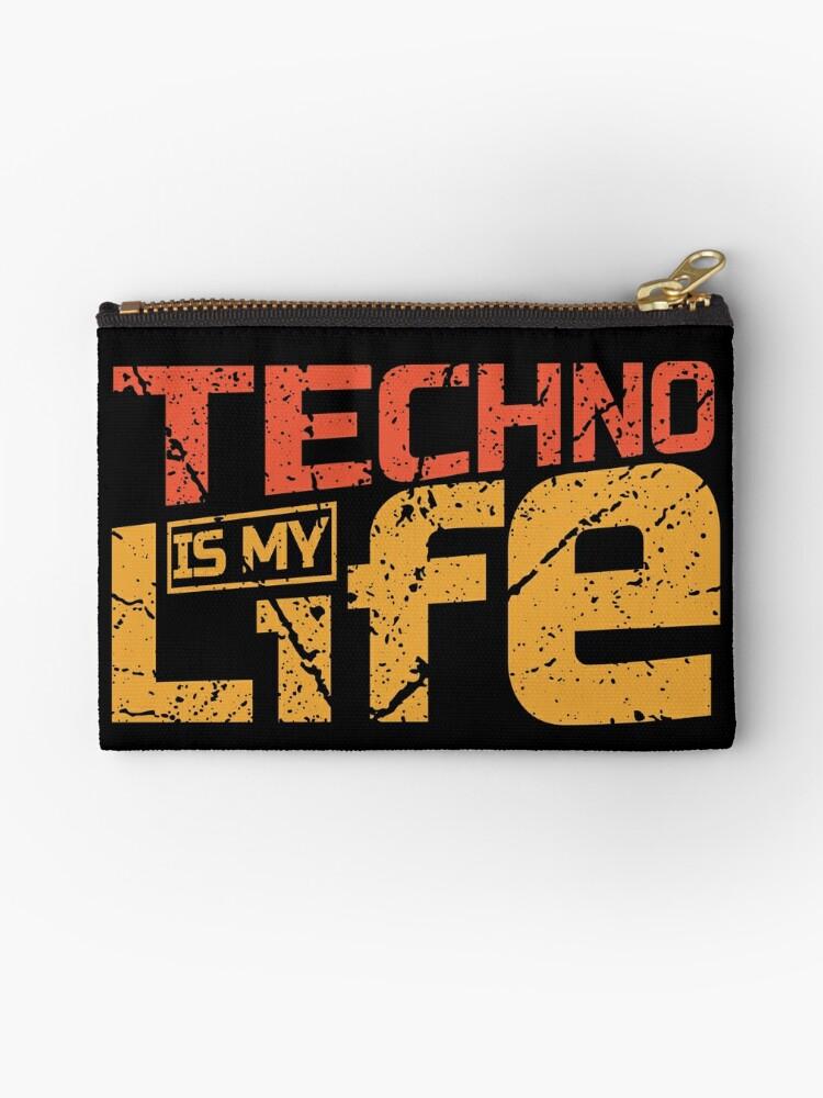'Techno Is My Life Design for Raver EDM Trap House Music Fan' Zipper Pouch  by rainydaysstudio