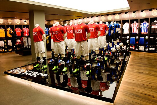 Champions League Display, Nike Town, London by Mark Greenwood
