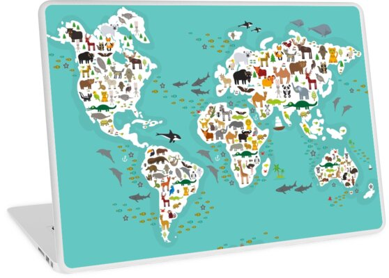 Cartoon Animal World Map For Children And Kids Animals From All Over The White Continents Islands On Blue Background Of Ocean Sea