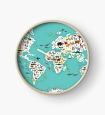 Cartoon animal world map for children and kids, Animals from all over the world, white continents and islands on blue background of ocean and sea. Clock