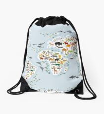 Cartoon animal world map for children and kids, Animals from all over the world Drawstring Bag