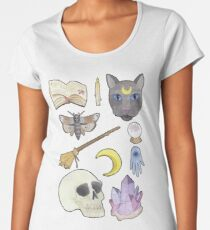 Witchy Aesthetic Spread - Skull, Cat, Crystal, Moon Women's Premium T-Shirt