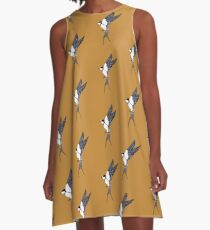 Swallows in Yellow Skies A-Line Dress
