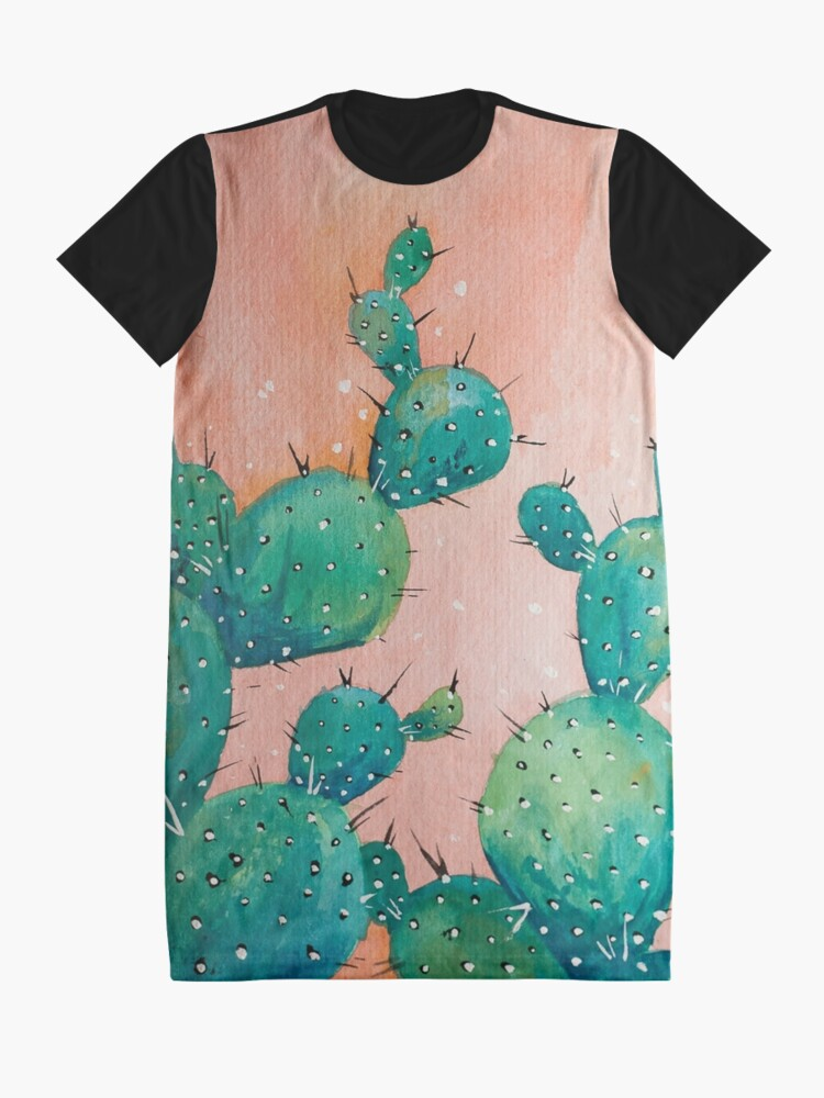 Alternate view of Desert cactus watercolor painting Graphic T-Shirt Dress