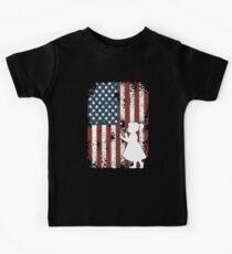 4th July Shirt USA Flag Shirt Red White Blue Stripes T-shirt Kids Tee