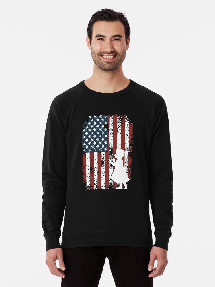 c87c0842c34859 4th July Shirt USA Flag Shirt Red White Blue Stripes T-shirt Lightweight  Sweatshirt