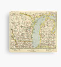 Vintage Map of Lake Michigan (1883) Canvas Print