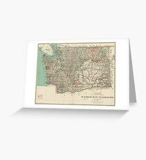 Vintage Map of Washington State (1887) Greeting Card