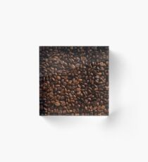 Rich Roasted Coffee Beans Textured Pattern Acrylic Block
