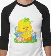 Vintage Cute Easter Duckling and Easter Egg Men's Baseball ¾ T-Shirt