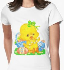 Vintage Cute Easter Duckling and Easter Egg Women's Fitted T-Shirt