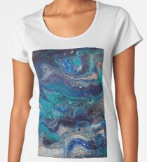 blue painting fluid art acrylic hand made Women's Premium T-Shirt