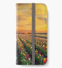 Sunset over colorful Tulip flower fields in full bloom during spring season tulip festival in Woodburn Oregon iPhone Wallet/Case/Skin