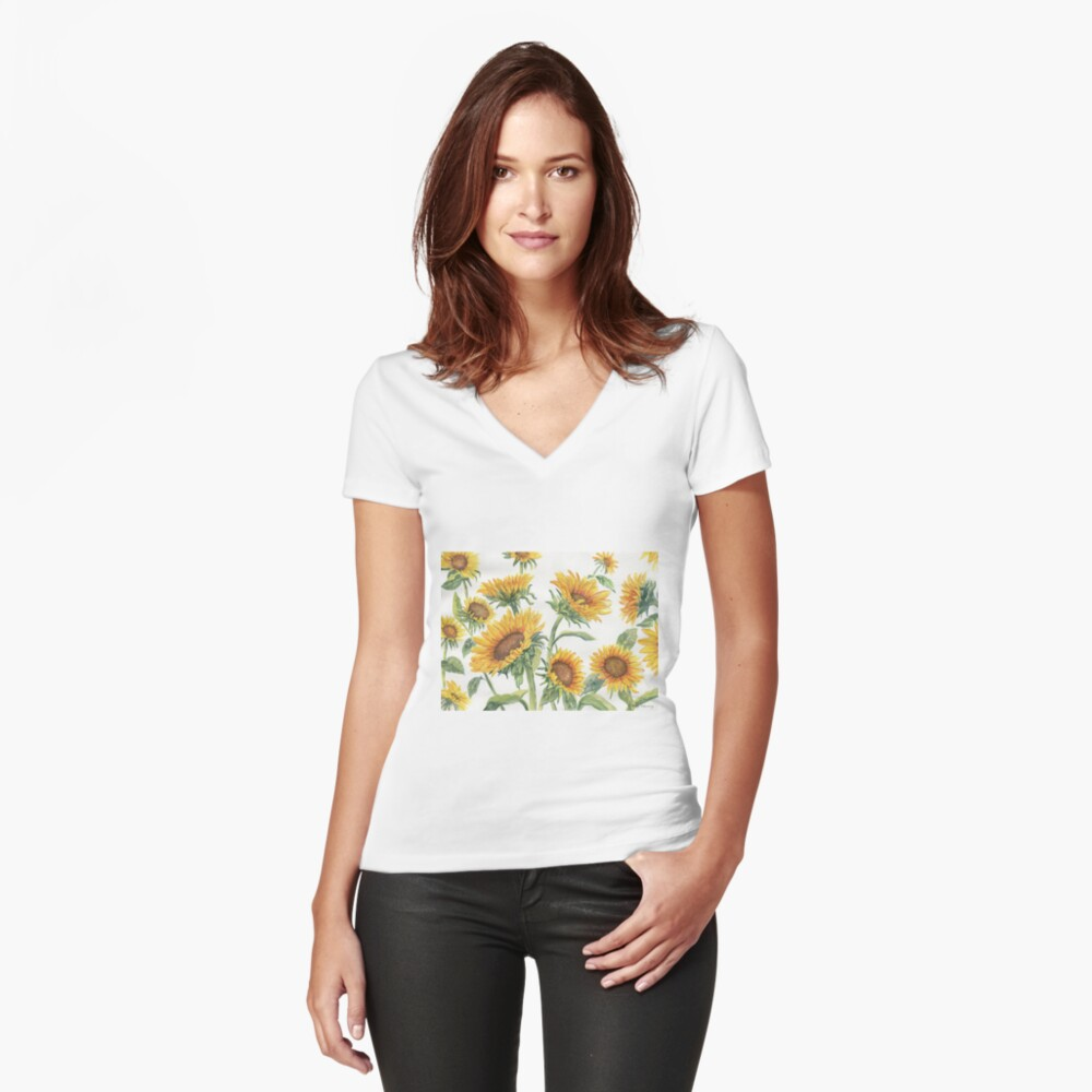 Blooming Sunflowers Fitted V-Neck T-Shirt