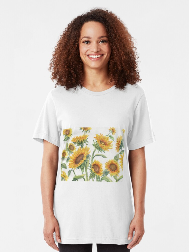 Alternate view of Blooming Sunflowers Slim Fit T-Shirt