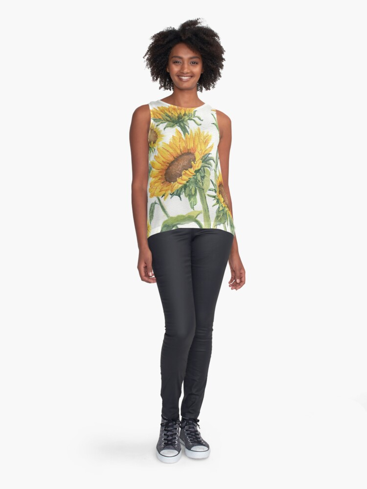 Alternate view of Blooming Sunflowers Sleeveless Top