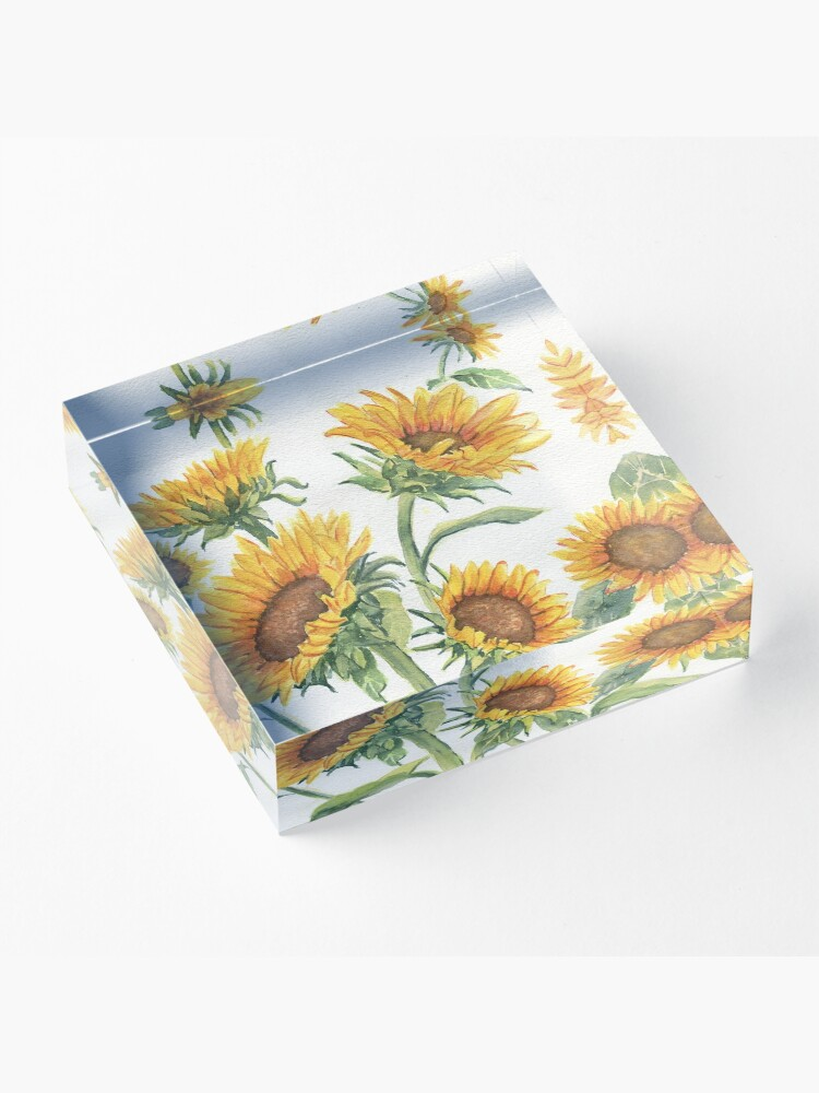 Alternate view of Blooming Sunflowers Acrylic Block