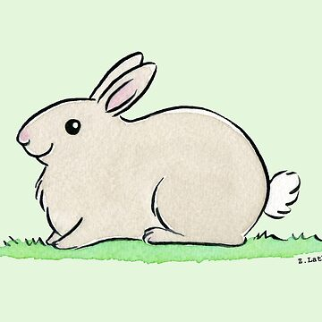 Plump Grey Bunny Rabbit Watercolour by zoel