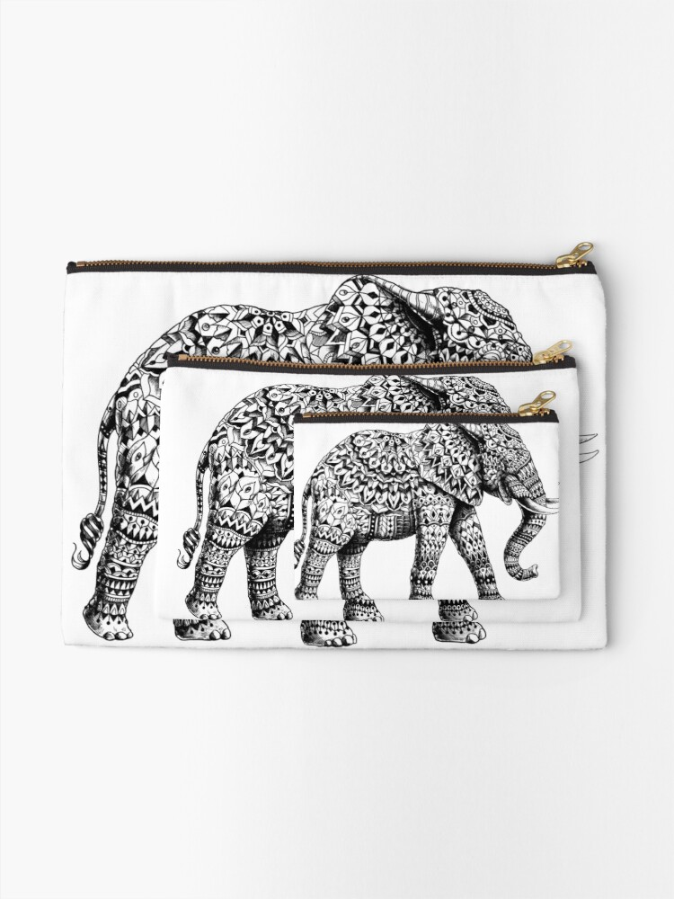 Alternate view of Ornate Elephant 3.0 Zipper Pouch