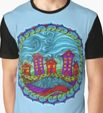 Whimsical Happy Homes Graphic T-Shirt