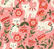 Folk Cat Pattern by Olivia Gibbs
