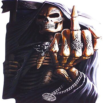 Grim Reaper Flipping finger  by thatstickerguy