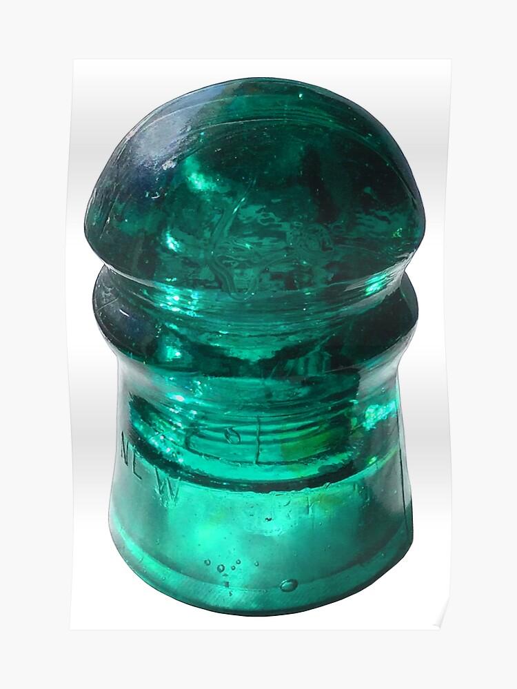 Vintage Electrical Insulator - Blue Green Glass Brockfield | Poster