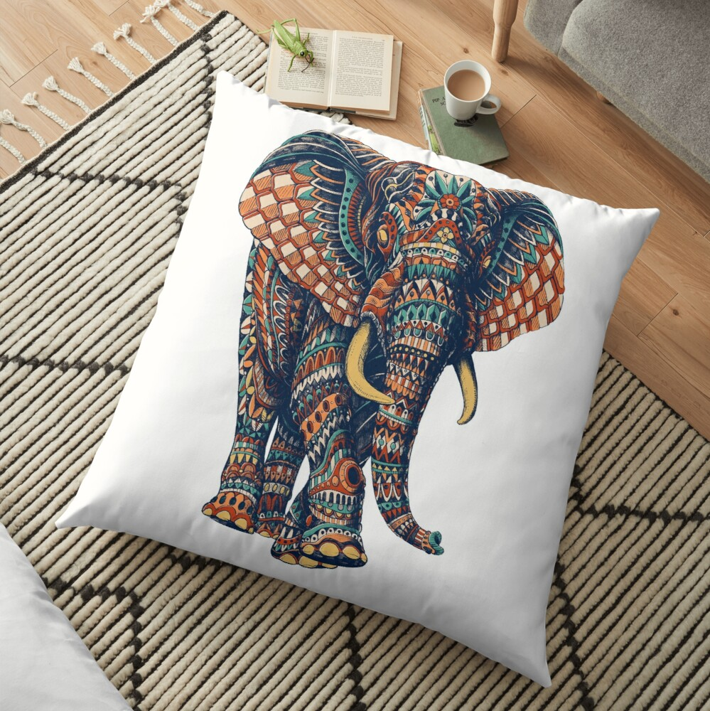 Ornate Elephant v2 (Color Version) Floor Pillow