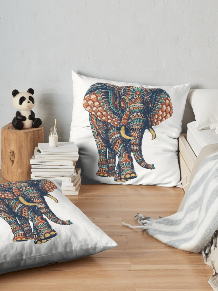 Alternate view of Ornate Elephant v2 (Color Version) Floor Pillow