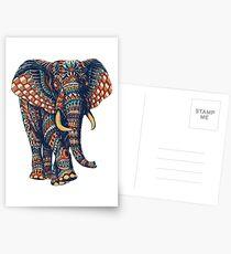 Verzierter Elefant v2 (Farbversion) Postkarten