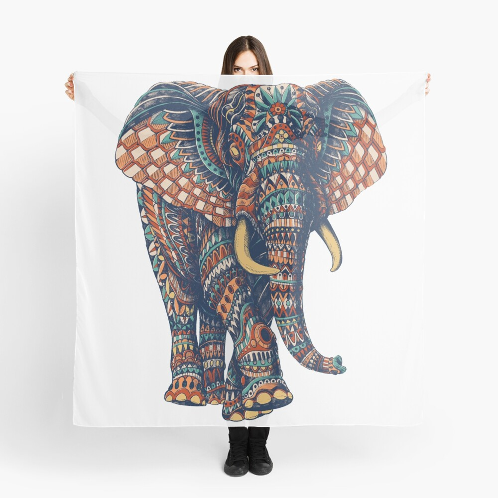 Ornate Elephant v2 (Color Version) Scarf