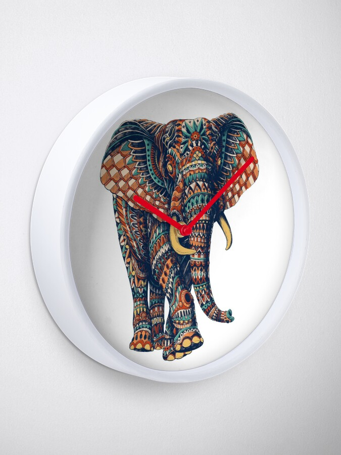 Alternate view of Ornate Elephant v2 (Color Version) Clock