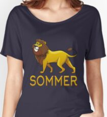 Sommer Lion Drawstring Bags Women's Relaxed Fit T-Shirt