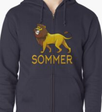 Sommer Lion Drawstring Bags Zipped Hoodie