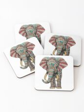 Ornate Elephant (Color Version) Coasters
