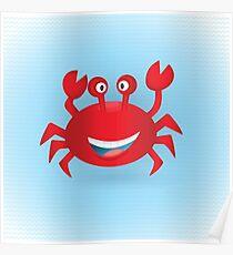 Cute hand drawn red crab. Tropical sea life design. Poster