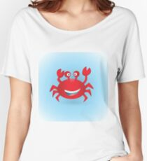 Cute hand drawn red crab. Tropical sea life design. Women's Relaxed Fit T-Shirt