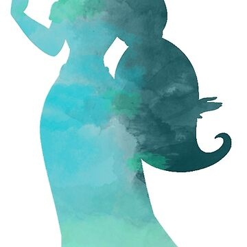 Blue princess watercolor silhouette by beccacook1