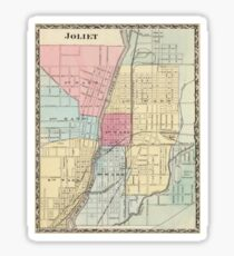 Vintage Map of Joilet IL (1876) Sticker