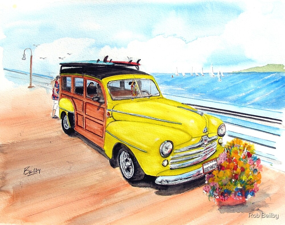 1948 Ford Woody - Springtime on the pier  by Rob Beilby