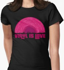 Pink Vinyl is love (black) Women's Fitted T-Shirt