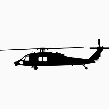 Blackhawk Helicopter Design in Black v1 by jnmvinylstudio