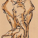 Little One: Mama & Baby Elephant Watercolor Painting #10 by Rebecca Rees