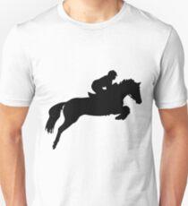 Horse Jumper Design in Black Slim Fit T-Shirt