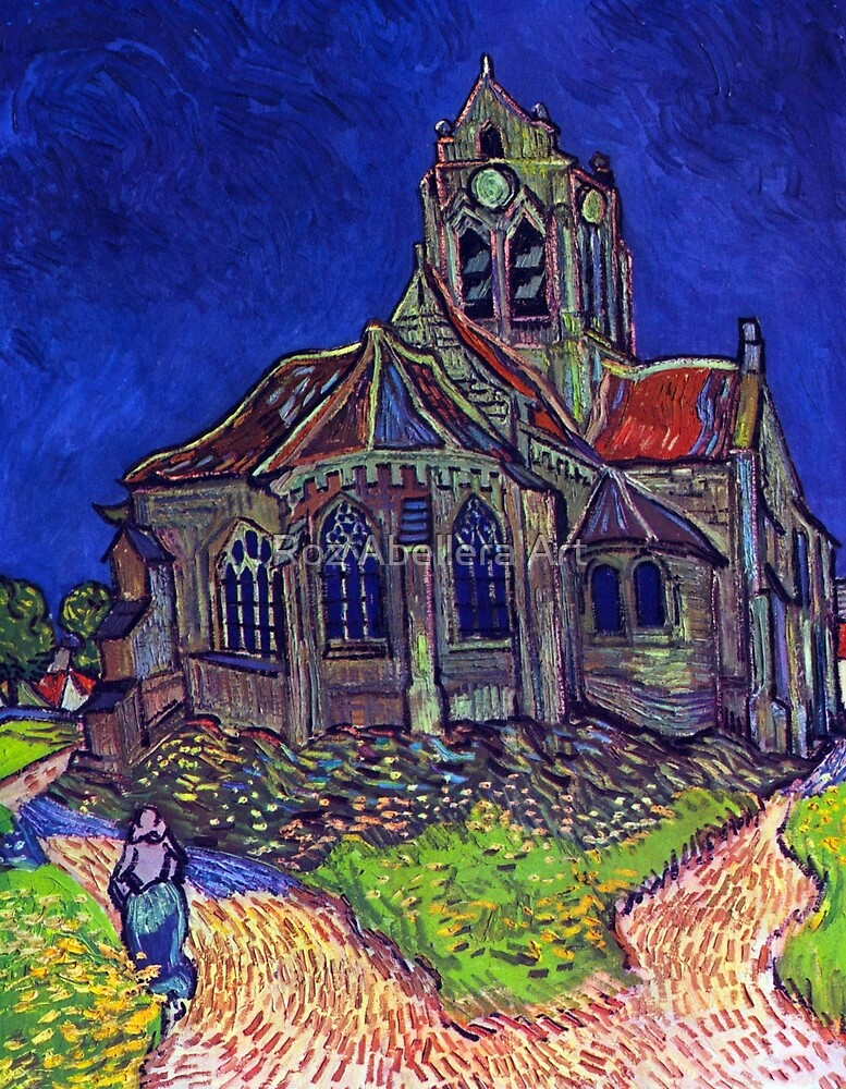 'Church of Auvers' by Vincent Van Gogh (Reproduction) by Roz Abellera