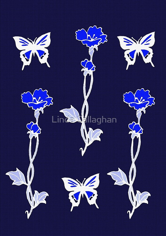 Butterflies and Flowers - Art Nouveau by Linda Callaghan