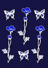 Purple Butterflies and Flowers - Art Nouveau by Linda Callaghan
