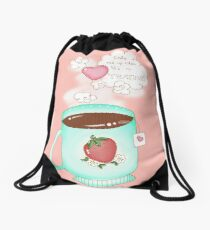Wake Me Up When It's Tea Time Drawstring Bag